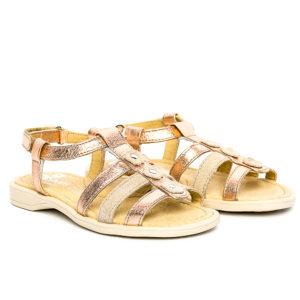 sandale fete din piele bronz