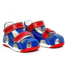 Sandale copii piele blu rosu