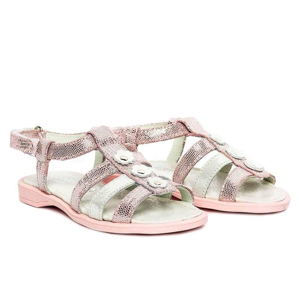 sandale fete din piele roz